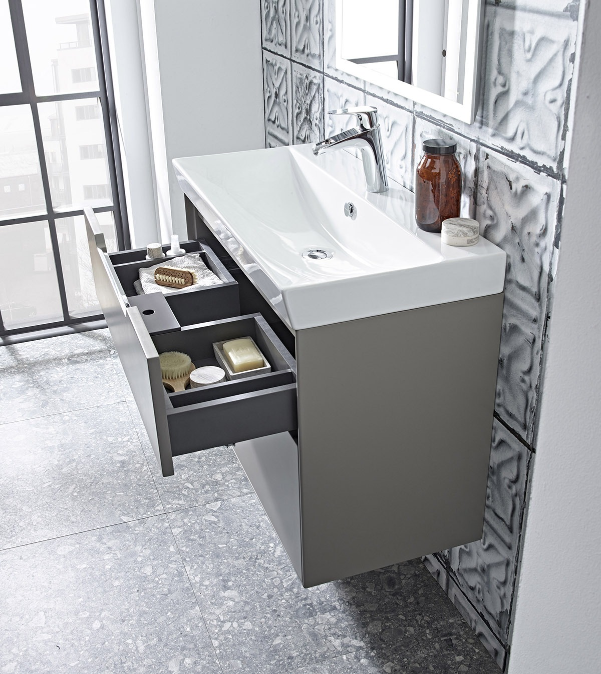 LABC Monograph 800mm light grey basin unit