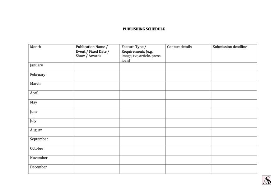 PR calendar template