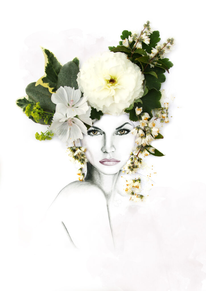 floral collage illustration