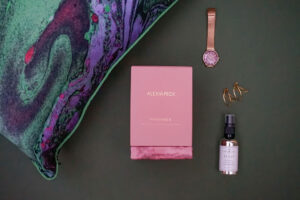 say it with purple flatlay