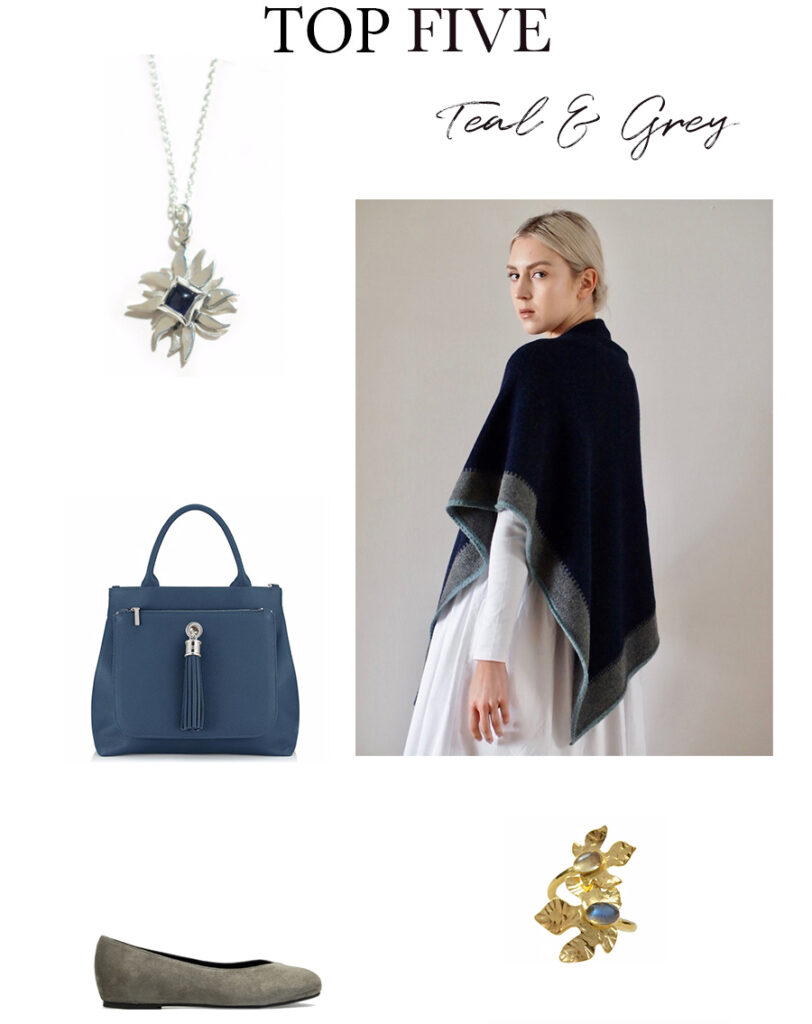 Teal and grey fashion accessories